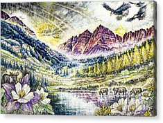 Maroon Bells  Acrylic Print by Scott and Dixie Wiley