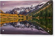 Maroon Lake Acrylic Print by Darren  White
