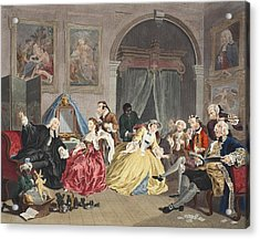 Marriage A La Mode, Plate Iv, The Acrylic Print by William Hogarth