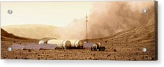 Acrylic Print featuring the digital art Mars Dust Storm by Bryan Versteeg