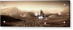 Acrylic Print featuring the digital art Mars Habitat - Valley End by Bryan Versteeg