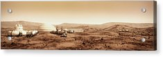 Acrylic Print featuring the digital art Mars Settlement Landscape With Farm by Bryan Versteeg