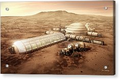 Acrylic Print featuring the digital art Mars Settlement With Farm by Bryan Versteeg