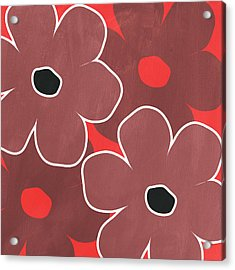 Marsala And Red Flowers- Bold Floral Art Acrylic Print