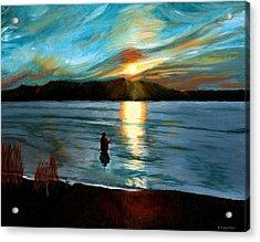Marsh Creek October Sunset Acrylic Print by Phillip Compton