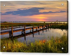 Marsh Harbor Acrylic Print by Debra and Dave Vanderlaan