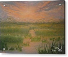 Acrylic Print featuring the painting Marsh Sunset by Holly Martinson