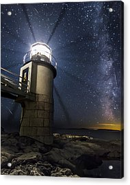 Marshall Lighthouse And The Night Sky Acrylic Print