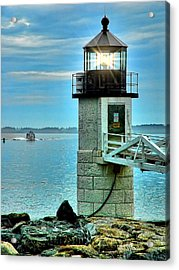 Marshall Point Light And Boat Acrylic Print by Carolyn Fletcher