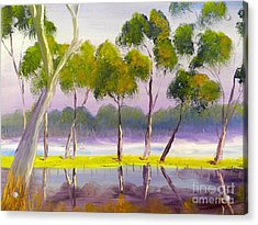 Acrylic Print featuring the painting Marshlands Murray River Red River Gums by Pamela  Meredith