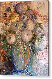 Acrylic Print featuring the painting Marshmallow Flowers by Laurie L