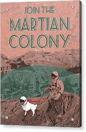 Martian Colony Mars Travel Advertisement Acrylic Print by
