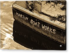 Martin Boat Works Acrylic Print by Mike Martin