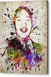 Martin Luther King Jr In Color Acrylic Print by Aged Pixel