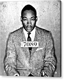 Martin Luther King Mugshot Acrylic Print by Bill Cannon