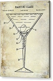 Martini Glass Patent Drawing Acrylic Print
