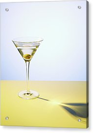 Martini In Martini Glass With Olive Acrylic Print by Felicity Mccabe