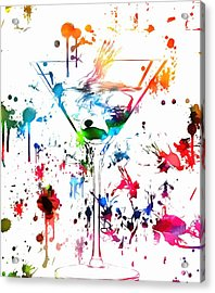 Martini Paint Splatter Acrylic Print by Dan Sproul