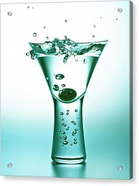 Acrylic Print featuring the photograph Martini With Olive Splash by John Hoey