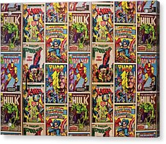Marvel Comics Heroes Acrylic Print by Ken Welsh