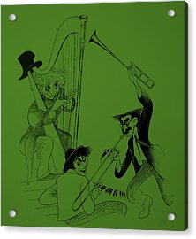 Marx Brothers Olive Green Acrylic Print by Rob Hans