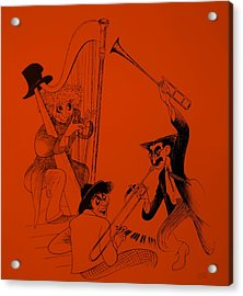 Marx Brothers Orange Acrylic Print by Rob Hans