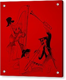 Marx Brothers Red Acrylic Print by Rob Hans