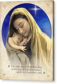 Mary And Baby Jesus Blue With Quote Acrylic Print