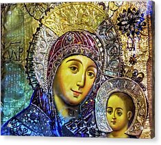 Mary And Jesus Icon, Greek Orthodox Acrylic Print by William Perry