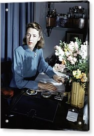 Mary Cushing At Her Desk Acrylic Print