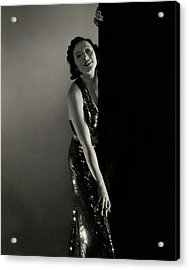 Mary Duncan Wearing A Sequin Dress Acrylic Print by Edward Steichen