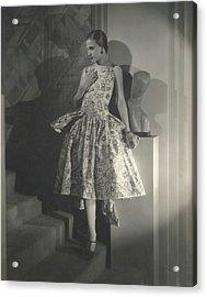 Mary Guina Wearing A Louiseboulanger Dress Acrylic Print