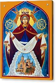 Mary In Red Acrylic Print by Munir Alawi