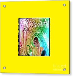Acrylic Print featuring the digital art Mary In The Field by Ann Calvo