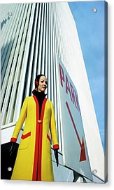 Mary Louise Wearing A Yellow And Red Coat Acrylic Print