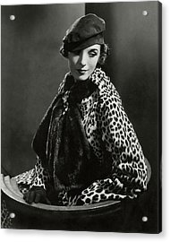 Mary Oakes Wearing Revillon Freres On A Chair Acrylic Print
