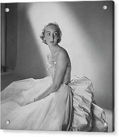 Mary Sargent Ladd Wearing A Tulle Dress Acrylic Print by Clifford Coffin