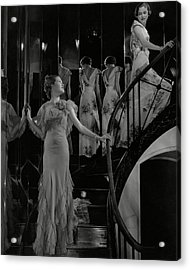 Mary Taylor And Anne Whitehead On A Staircase Acrylic Print by Edward Steichen