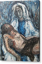 Acrylic Print featuring the painting Mary With Jesus by Cheryl Pettigrew