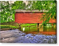 Maryland Country Roads - Peaceful Crossing - Loys Station Covered Bridge 3a Spring Acrylic Print