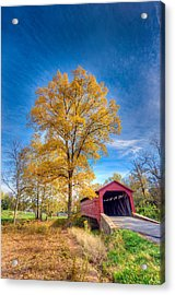 Maryland Covvered Bridge In Autumn Acrylic Print
