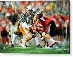 College Lacrosse Faceoff 2 Acrylic Print by Scott Melby
