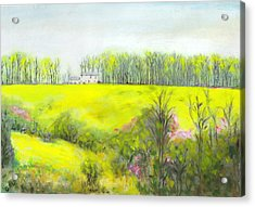 Acrylic Print featuring the painting Maryland Landscape Springtime Rt40 East Original Painting by G Linsenmayer
