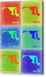 Maryland Pop Art Map 2 Acrylic Print by Naxart Studio