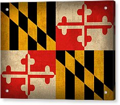 Maryland State Flag Art On Worn Canvas Acrylic Print by Design Turnpike