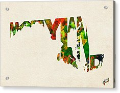 Maryland Typographic Watercolor Map Acrylic Print