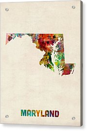 Maryland Watercolor Map Acrylic Print by Michael Tompsett