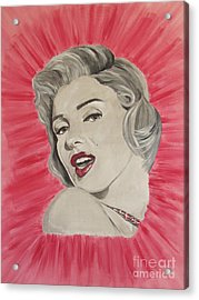 Acrylic Print featuring the painting Marylin Monroe Double Pink by Jeepee Aero