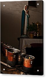 Mary's Candles Acrylic Print by Andy Crawford