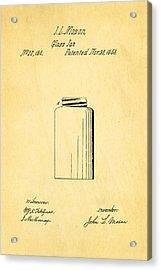 Mason Jar Patent Art 1858 Acrylic Print by Ian Monk